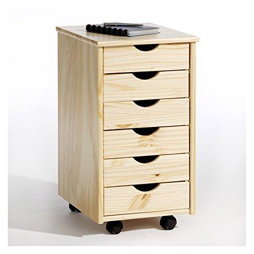 Rollcontainer Bürocontainer Container Schubladencontainer LAGOS, Kiefer massiv in natur, 6 Schubladen, 4 Doppelrollen