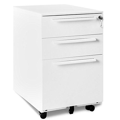 Rollcontainer, inkl. 3 Schübe, grundsolide Verarbeitung, optimal für Schreibtisch, Büromöbel, Aktenschränke, Büro-Rollcontainer, Bürocontainer mit Schubladen für A4, Hängeregistratur