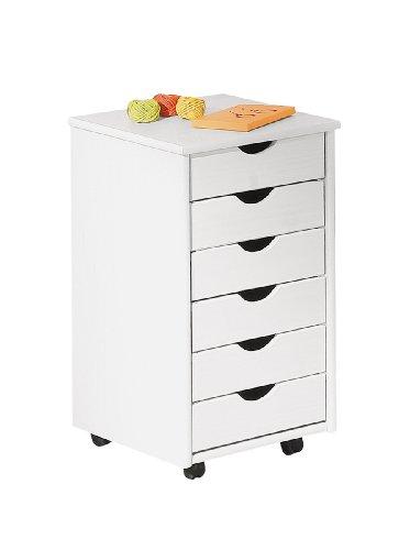 Rollschrank Rollcontainer Simon Massivholz 6 Schubladen weiß lackiert