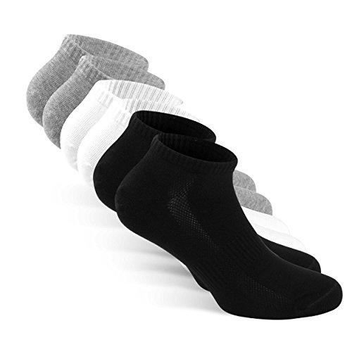 SNOCKS Damen & Herren Sneaker Socken – Kurze Socken (6er Pack) 35-50 Schwarz, Weiß, Grau - Sneakersocken Baumwolle