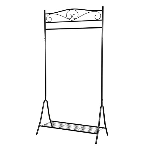 SONGMICS Höhe 173cm Metall Antik Kleiderständer Kleiderstange Garderobenständer mit Schuhablage