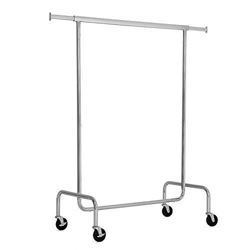 SONGMICS Schwerlast Metall Kleiderständer max. Belastbarkeit 130 kg, Garderobe auf Rollen, Länge: 110-150 cm, verchromt HSR11S