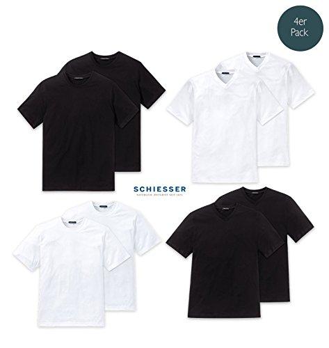 Schiesser 4er Pack American T-Shirt Rundhals oder V-Neck M-XXXL, Schwarz o. Weiß -