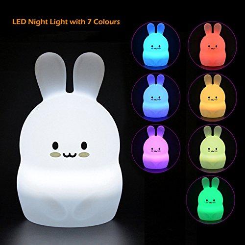 Silikon Nachtlicht für Kinder Niedliche Mehrfarben LED Soft Bunny Nursery Lampe