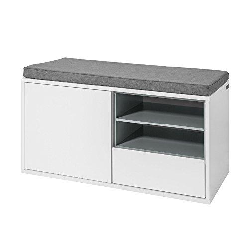 SoBuy® FSR37-W Sitzbank mit Sitzkissen Bettbank Schuhschrank Garderobenbank weiß BHT ca: 80x46x35cm