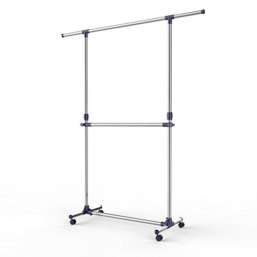 Songmics Kleiderständer Garderobenständer mit Rollen Höhenverstellbar von 113 bis 198 cm, Edelstahl plattierte Rohre