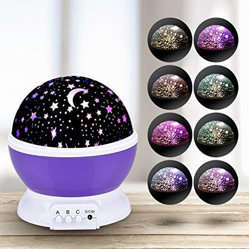 Sun und Stern Stimmung Lichtprojektor Beleuchtung Lampe 4 LED Perlen 360 Grad Romantische Lamp entspannende Nachlicht für Baby.Kinderzimmer Schlafzimmer lila von WEINAS