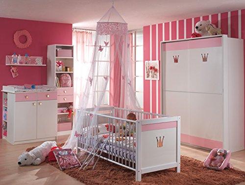 TRAUMHAFT Komplett Babyzimmer weiss - rosé Kleiderschrank Babybett Wickeltisch