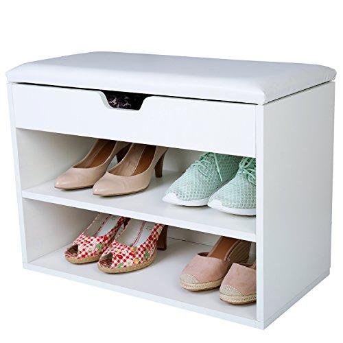 TRESKO® Schuhschrank für 6 Paar Schuhe mit Sitzgelegenheit, Klappdeckel und wasserdichtem Sitzkissen, Schuhregal, Schuhbank mit Sitzkissen, Sideboard mit Sitzfläche, Sitzbank mit Aufbewahrung für Flur, Wohnzimmer, Badezimmer oder für Schuhe, aus Holz, weiß
