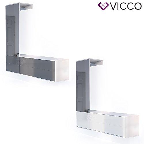 VICCO Garderobenset Flur Garderobe Hochglanz mit Push to Open Funktion und riesigen XXL Spiegel - Großzügiger Schuhschrank Wandhängend