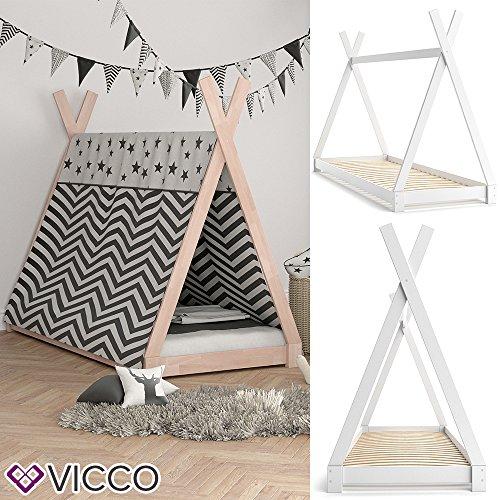 VICCO Kinderbett TIPI Kinderhaus Indianer Zelt Bett Kinder Holz Haus Schlafen Spielbett Hausbett 90x200