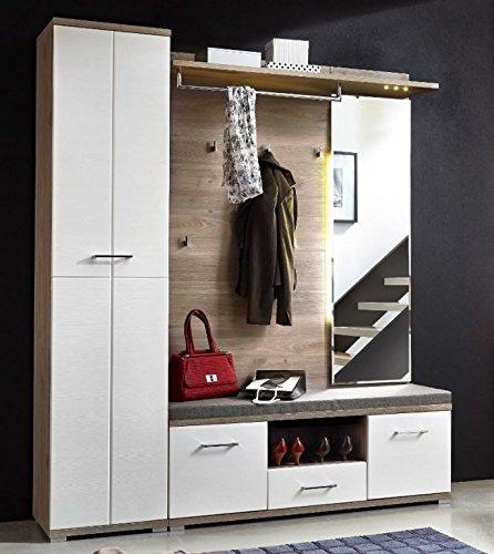Victoria 4 Kompaktgarderobe Garderoben Set Komplettgarderobe Weiß/Silbereiche