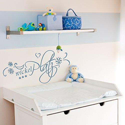 Wandtattoo Text Wickelplatz 72018-58x28 cm, Baby wickeln Aufkleber für Wickelkommode, Beschriftung, Wandaufkleber Aufkleber für die Wand, Tapetensticker aus Markenfolie, 32 Farben wählbar