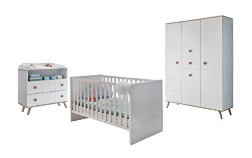 Wimex B01368 Babyzimmer Set, Holz, alpinweiß / absätze eiche sägerau nachbildung, 146 x 292 x 202 cm