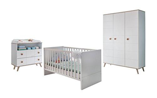 Wimex B01430 Babyzimmer Set, Holz, alpinweiß / absätze eiche sägerau nachbildung, 146 x 292 x 202 cm