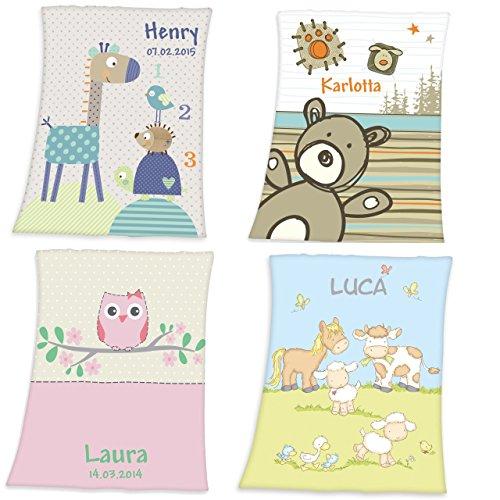 Wolimbo Flausch Babydecke mit Ihrem Wunsch-Namen und Motiv - personalisierte / individuelle Geschenke für Babys und Kinder zur Geburt, Taufe und Geburtstag - 75x100 cm für Mädchen und Jungen