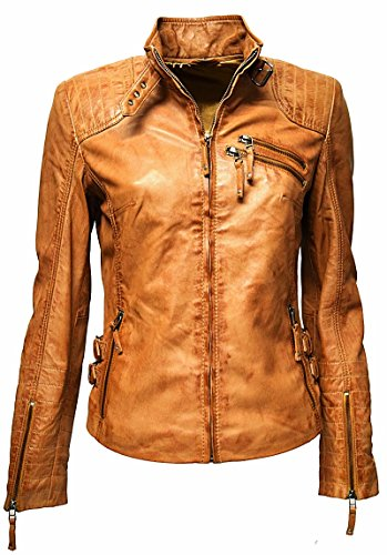 "Zimmert Ledermoden Übergangsjacke Damen Biker Leder-Jacke ""Amy"" gesteppt, washed, used-look, Slim-Fit"