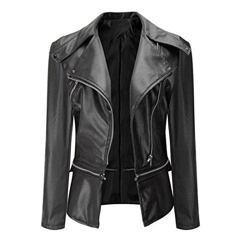 Zipper Jacke Damen Btruely Mode Weinlese Frauen Motorrad Leder Mantel Überzieher Outwear