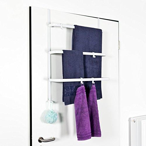 bremermann® Tür-Hängeregal, Tür-Handtuchhalter mit 4 praktischen Haken, weiß
