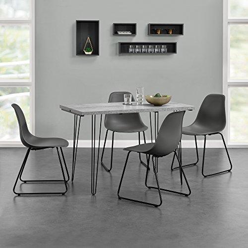 """[en.casa]® Esstisch mit Hairpinlegs + 4 x Design-Stuhl """"Porto"""" im Set"""
