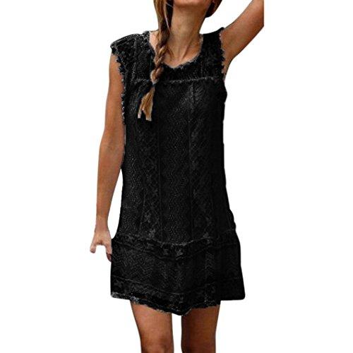 feiXIANG frauen locker spitze kleider strand Hemdkleid Damen kurzen kleid tassel mini - kleid Sommer Ärmelloses rockkleid O-Ausschnitt Shirtkleid