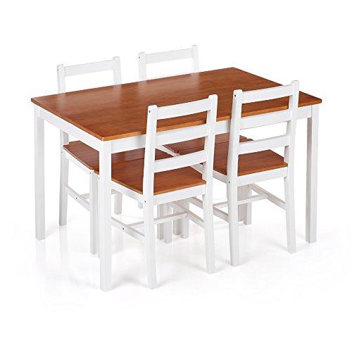 iKayaa 5 Teilig Essgruppe Tischgruppe aus 1 Esstisch 118x75cm+4 Stühle Kieferholz