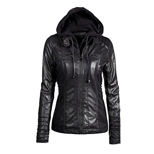 iMELY Damen Jacke PU Leder Kaputzenjacke Hoodie Langärmelig übergangsjacke Kaputzen Outerwear für Frühling Herbst