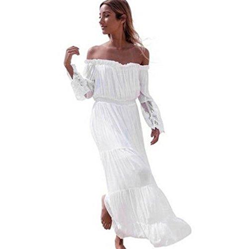 kleid damen Kolylong® Frauen elegante aus Schulter lange Kleid Sommer trägerloses weißes Strandkleid Party Kleid Böhmisches kleid Abendkleid
