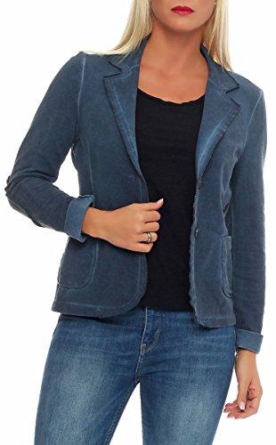 malito Damen Blazer im Washed Style | Sakko im Basic Look | Kurzjacke mit Knöpfen | Jacke - Jackett - Blouson 1652