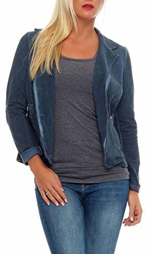 malito Damen Blazer im Washed Style | schickes Stern Sakko | Kurzjacke mit Knöpfen | Jacke - Jackett - Blouson 1653