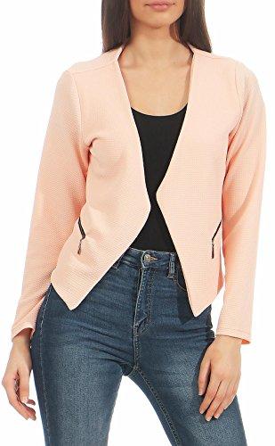 malito Damen Blazer ohne Kragen | Sakko im Basic Look | Kurzjacke mit Zipper | Jacke - Jackett - Blouson 6040