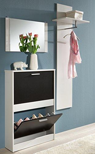 trendteam 1196-236 Garderoben-Set 3-teilig Nachbildung, 110 x 190 x 17 cm, schwarz / weiß