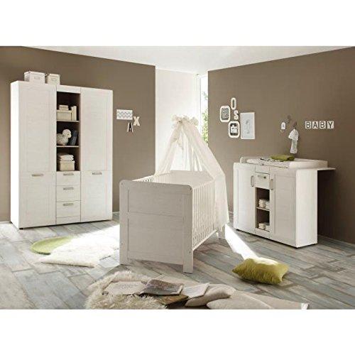 trendteam Babyzimmer  3-teiliges Komplett Set Landi in Pinie Weiß Struktur, Absetzung Pinie Dunkel Dekor im Landhausstil
