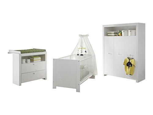 trendteam Babyzimmer 3-teiliges Komplett Set Olivia in Weiß  mit viel Stauraum und pflegeleichten Oberflächen