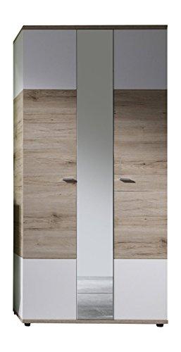 trendteam Garderobe Garderobenschrank Schrank Campus, 91 x 190 x 38 cm in Weiß, Absetzung Eiche San Remo Hell Dekor mit Spiegel