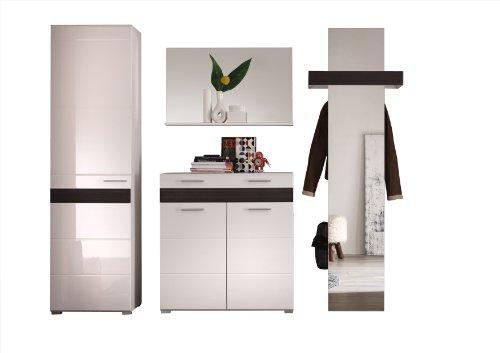 trendteam Garderoben Set Garderobe 4-teilig weiss Hochglanz, BxHxT 248x195x38 cm