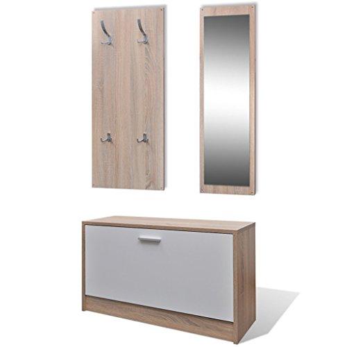 vidaXL Garderoben Set Flur 3-in-1 Schuhschrank Spiegel Garderobenpaneel Eiche