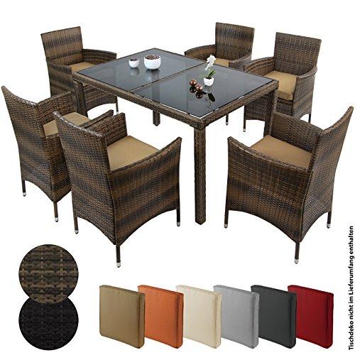 13-teilige Polyrattan Essgruppe MY MARGARITA für 6 Personen Gartenset Lounge Sitzgruppe inkl. Auflagen und Bezüge große Farbauswahl Gartenmöbel Rattanmöbel