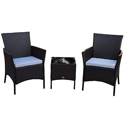 3 Teiliges Polyrattan Gartenmöbelset Tisch Stuhl Balkonmöbel-Set SJ-03 Schwarz