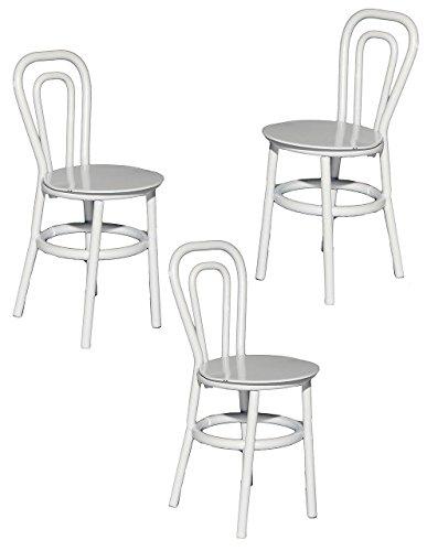 3 tlg. Set: Stühle / Bistrostuhl / Gartenstühle - weiß - aus Metall - Miniatur / Maßstab 1:12 - für Puppenstube - Möbel Set Nostalgie - Restaurant Garten Alu Balkonstuhl - Terrassenmöbel / Puppenhaus Puppenküche - Diorama Deko - Gartenmöbel Stühle