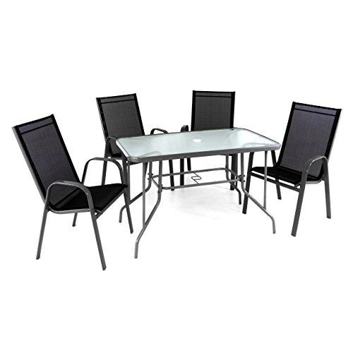 5-teiliges Gartenmöbel-Set – Gartengarnitur Sitzgruppe Sitzgarnitur aus Stapelstühlen & Esstisch – Stahl Kunststoff Glas – schwarz grau