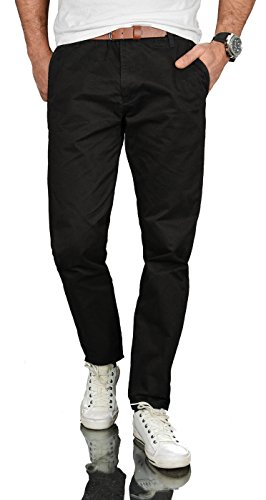 A. Salvarini Herren Designer Chino Stoff Hose inkl. Gürtel Regular Fit AS095