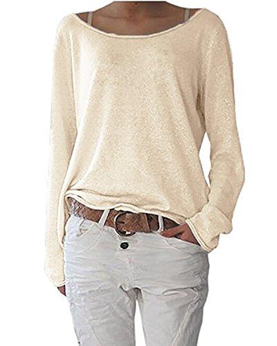 ANDERINA New Damen Pulli Langarm T-Shirt Rundhals Ausschnitt Lose Bluse Langarmshirts Hemd Pullover Oversize Sweatshirt Oberteil Tops Shirts