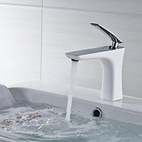 Aimadi Mischbatterie Badarmatur Wasserhahn Bad Armatur Waschtischarmatur Waschbecken Einhebelmischer Badzimmer Waschbeckenarmatur Weiß Chrom