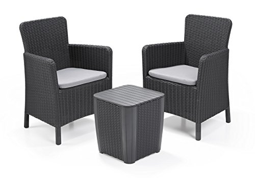 Allibert Lounge Set in Rattanoptik, Trenton Balkon Graphit, 3-teiliges Lounge Set Rattan, Kunststoff Lounge Set - Terrassenmöbel - Balkonmöbel