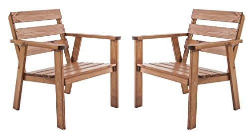 Ambientehome Gartensessel Loungesessel Sessel Gartenstuhl Massivholz HANKO, 2-teiliges Set