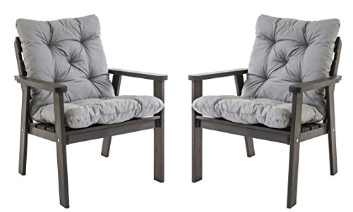 Ambientehome Gartensessel Loungesessel Sessel Gartenstuhl Massivholz inkl. Kissen HANKO, 2-teiliges Set