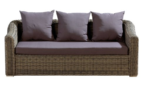 Ambientehome Polyrattan 2er Sofa Loungesofa Mosambik, grau