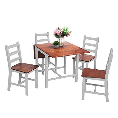 Ananpa Esstisch mit 4 Stühle, Klappbar, 119 x 75 x 73 CM Essgruppe für Esszimmer - Weiß