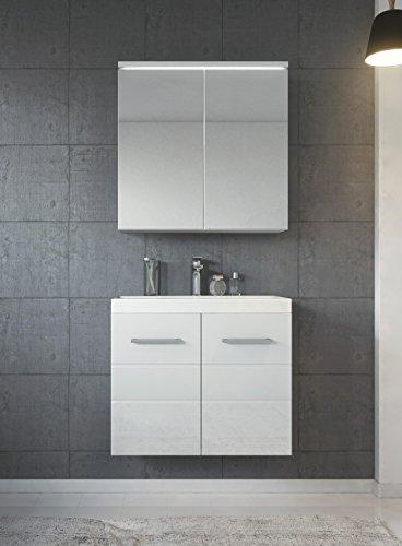 Badezimmer Badmöbel Toledo 02 60 cm Waschbecken Hochglanz Weiß - Unterschrank Schrank Waschbecken Spiegelschrank Schrank